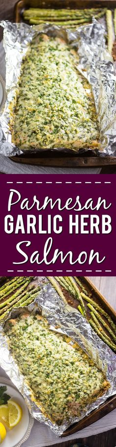 Parmesan Garlic Herb Salmon Recipe - Quick and easy family dinner recipe, but also cheesy and zesty Parmesan Garlic Herb Salmon recipe uses to simple ingredients to make a delicious flavorful meal in  (Dinner Quick 3 Ingredients)
