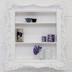 Super cute -pair a small shelf with a pretty painted frame!