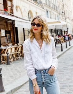 Since moving to Paris, Marissa Cox of Rue Rodier has learnt a few new French girl–inspired jean outfits that really work. See her top five combos here. White Shirt And Jeans, Straight Cut Jeans, Moving To Paris, Zara Shirt, Citizens Of Humanity Jeans, French Girls, Glamour, Parisian Chic, Night Outfits