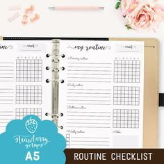 """Daily routine: """"ROUTINE CHECKLIST"""" Printable planner inserts personal, Routine chart, Morning routine, Bedtime routine, Weekly chart, Day"""