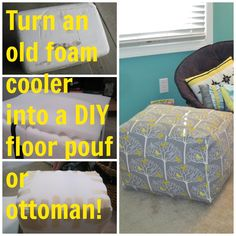 Make an easy diy floor pouf for 35 or less diy pinterest diy floor pouf or ottoman from an old foam cooler solutioingenieria Images