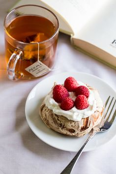 Tea with Chocolate Swirl Meringue Nest