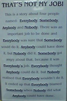 This is a story about four people named Everybody, Somebody, Anybody and Nobody. There was an important job to be done and Everybody was sure that Somebody would do it. Anybody could have done it, but Nobody did it. Somebody got angry about that, because it was Everybody's job. Everybody thought Anybody could do it, but Nobody realized that Everybody wouldn't do it. It ended up that Everybody blamed Somebody when Nobody did what Anybody could have done.