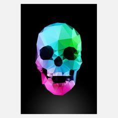 Geo Skull Night Print