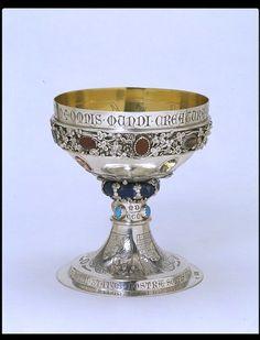 Silver Goblet: London 1863-1864. Burges, William (A.R.A.) (designer) Hart, Charles (maker) Joseph Hart & Son (maker) Silver, parcel-gilt, set with applied ornament and enameled.