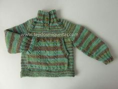 Tejidos Miqueitas   Verde jaspeado con bolsillo adelante Turtle Neck, Sweaters, Fashion, Tricot, Green Sweater, Moss Stitch, Jackets, Scarves, Bebe