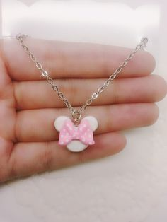 White and Pink Minnie Inspired Mickey Mouse Head Necklace - Polymer Clay Charm, Disney Jewelry, Mickey Mouse Jewelry, Polymer Clay Charm
