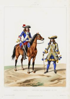 Scots Guards in the Body Guards of Louis XIV of France (on the left, in blue). Louis Xiv, Roi Louis, Military Art, Military History, Seven Years' War, Royal Guard, French Army, Palace Of Versailles, 17th Century