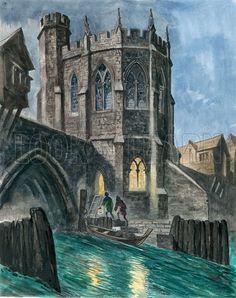 Peter Jackson - Imaginary Reconstruction of the Chapel of St. Thomas on Old London Bridge