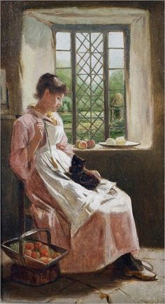 A Young Woman and Her Cat ~ Carlton Alfred Smith ~ (English: Classic Paintings, Paintings I Love, Beautiful Paintings, Cottage Art, Cat People, Oeuvre D'art, Crazy Cats, Love Art, Cat Art