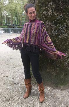 crochet poncho , Fringed poncho , purple poncho , boho , granny square poncho…