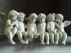 row of heavenly cherubs which are a sight to behold. The detail on each cherub includes sweet dimpled knees and smiling faces. Angels Among Us, Angels And Demons, Statue Ange, Vintage Illustration, I Believe In Angels, Ange Demon, Garden Angels, Angels In Heaven, Angel Art