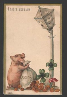 114803 Pink PIG & Coins & LANTERN w/ Face NEW YEAR Embossed PC