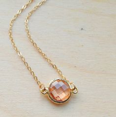 Peach Pink Pendant  Gold Necklace with Central by FredericaDixon, £14.99