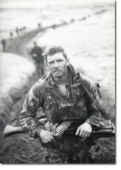 Yomping across the Falklands. A member of 45 commando yomping across the Falkland Islands. With the destruction of the Atlantic Conveyor, much of the helicopter airlift capacity of the British had been lost. British forces had to literally walk across the width of East Falkland Island.
