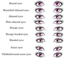 What's YOUR eye shape? 9 realistic eye shape chart by NinaSquirrelly.deviantart.com on @deviantART... Mine are either roundish almond, almond, or droopy. Susanne's either round, roundish almond or droopy, or the childish/round Asian ones. Emily's almond, thin almond or droopy. Hanks almond or thin almond. Mom droopy. Dad round.