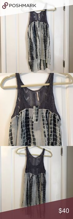 Free people sheer dress with crochet top Airy dress perfect for summer. I'm 5'0 and was able to wear as a dress Free People Tops Tunics