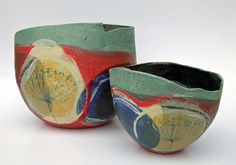 Stoneware bowl in hot red harvest design by Terrain Vallonne