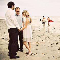 California beach vow exchange. Perfect. (Amelia Lyon Photography)