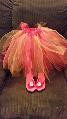 Tulle tu tu made to match party outfit and flip flops