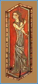En esta tabica se representa una mujer tocando una especie de castañuelas llamadas tejoletas, a cuyo compás parece estar danzando. Viste una camisa margomada y saya encordada. El cinturón se desliza por su cuerpo, lo que es señal de indecorosidad según los cánones medievales. La cabeza se cubre con una especie de pañuelo del que penden cintas. Catedral de Teruel
