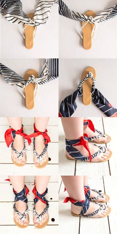 Summer is the season for sandals, but don't just settle for plain flip flops. With a little creativity, you can make these scarf sandals out of your old flip flops. All you need are your favourite flip flops and one of our Namrow Silk Scarves.