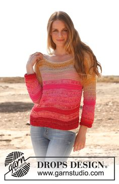 "Knitted DROPS jumper in garter st with dropped sts and ¾ sleeves in 2 strands ""Safran"". Size: S - XXXL. ~ DROPS Design"