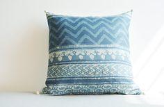 Hand Block Printed Natural Indigo Pillow Cover  by anekdesigns