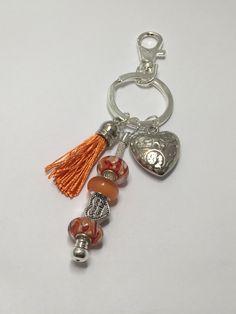 Porte-clefs ou bijou de sac , coloris orange     réf 750 de la boutique perlesacoco sur Etsy