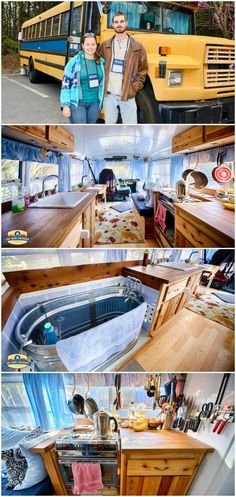 the tub and the kitchen! wow! I love all the windows you get with the converted bus!