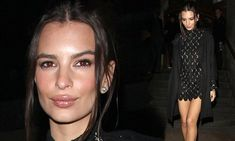 Emily Ratajkowski flaunts her model pins in sexy lace dress at LFW