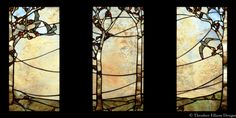 Landscape Triptych stained glass by Theodore Ellison Designs (Oakland, CA) in collaboration with Debey Zito Fine Furniture and Designs