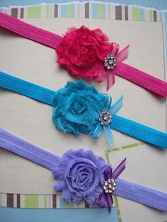 Shabby Flower Headbands set of 3 Baby Girl Headband .. Newborn Headband .. Baby Headbands .. Newborn Baby Girl. $17.00, via Etsy.