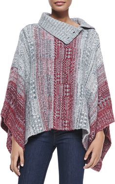 Free People Willow Diamond-Knit Poncho, Red/Gray is on sale now for - 25 % !(Not Latvian but th err colors are perfect.)