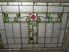 LARGE-ANTIQUE-STAINED-GLASS-WINDOW-W-BEAUTIFUL-GLASGOW-ROSE-HYDE-PARK-544