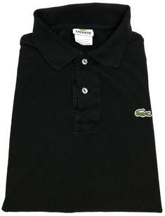Lacoste Polo Shirt Medium Mens Short Sleeve Pique Knit Croc Men Black Size  Sz 5  Lacoste  PoloRugby 087b5eba40d03