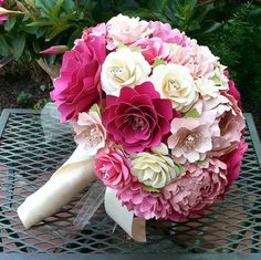 Paper Flower Bouquet Wedding Bouquet by morepaperthanshoes