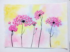 """Купить Картина """"Солнечные зонтики"""" акварель акрил - картина акварелью, картина акрилом, цветы акварелью"""
