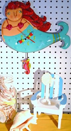 Whimsical Michelle Allen designs Mermaid Clock RUBY ships Priority in 24 hrs #ALLENDESIGNS #PopArt