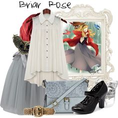 Briar Rose - Disney's Sleeping Beauty by rubytyra on Polyvore featuring Mantaray, Calvin Klein, Oscar de la Renta, disney, sleepingbeauty, aurora, disneybound and BriarRose