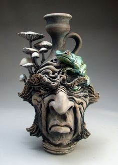 Frog and Mushrooms Face Jug folk art raku pottery sculpture by Mitchell Grafton