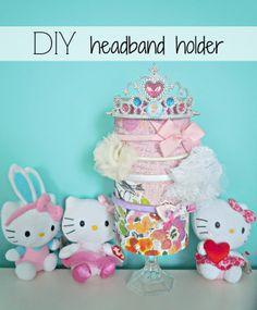 DIY Headband Holder: scrapbook paper covered oatmeal canister #easycraft