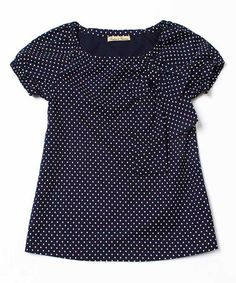 Navy & White Dot Bow Top - Toddler & Girls by Frankino & Frankina #zulily #zulilyfinds