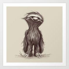 Sir Sloth Art Print by Dave Mottram - $20.80