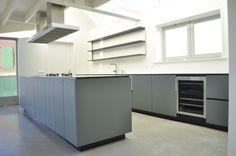 industriële keuken, berken multiplex met eiken fineer, rvs massief blad 4mm, icooking gasbranders