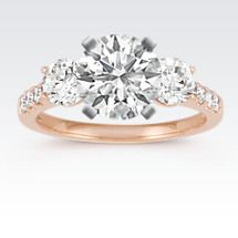 Cathedral Three-Stone Round Diamond Engagement Ring in 14k Rose Gold Image