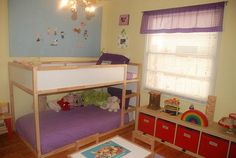 minus the purple. Big Girl Bedrooms, Shared Bedrooms, Awesome Bedrooms, Girls Bedroom, Bedroom Ideas, Ikea Bunk Bed, Kura Bed, Kids Bunk Beds, Boy And Girl Shared Room