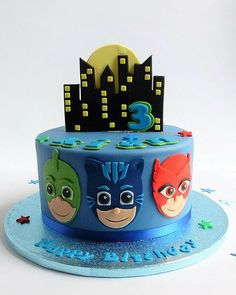 the 20 Best Ideas for Pj Mask Birthday Cake . P J Masks Cake Fourth Birthday, 3rd Birthday Parties, Birthday Ideas, Torta Pj Mask, Pj Masks Birthday Cake, Birthday Cake Kids Boys, 5th Birthday Cake, Pjmask Party, Cake Party