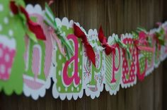 Happy Birthday Banner in Pink & Lime Green by BurleyGirlDesigns, $30.00