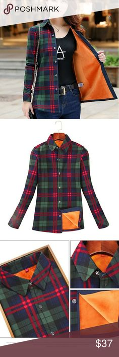 ⚡Restocked⚡Warm plaid shirt MUST have shirt in the closet. Very handy when you need to do some errands and stay warm. Super soft , you will love it. Material inside feels like fleece.   Same colour as pictured.   L - 6. Tops